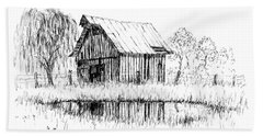 Weeping Willow And Barn Two Bath Towel