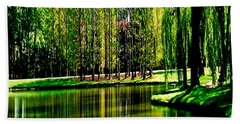 Weeping Willow Tree Reflective Moments Bath Towel by Carol F Austin