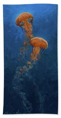 Bath Towel featuring the painting Weightless - Pacific Nettle Jellyfish Study  by Karen Whitworth