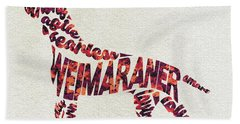 Bath Towel featuring the painting Weimaraner Watercolor Painting / Typographic Art by Inspirowl Design