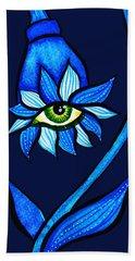 Weird Blue Staring Creepy Eye Flower Bath Towel