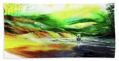 Hand Towel featuring the painting Welcome Back by Anil Nene