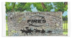 Welcome Sign Fort Sill Hand Towel