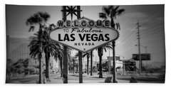 Welcome To Las Vegas Series Holga Black And White Bath Towel