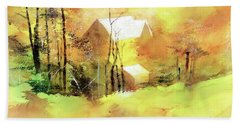 Bath Towel featuring the painting Welcome Winter by Anil Nene