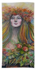Welcome To Autumn Bath Towel by Rita Fetisov