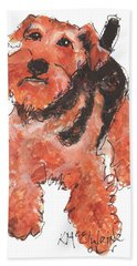 Welsh Terrier Or Schnauzer Watercolor Painting By Kmcelwaine Hand Towel