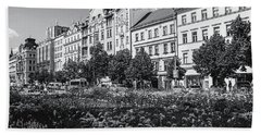 Bath Towel featuring the photograph Wenceslas Square In Prague by Jenny Rainbow