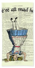 We're All Mad Here Alice In Wonderland Dictionary Art Print Bath Towel