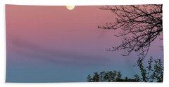 Bath Towel featuring the photograph West Brattleboro Full Moon by Tom Singleton