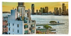 Bath Towel featuring the photograph West Village To Jersey City Sunset by Chris Lord