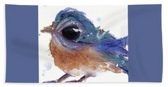 Hand Towel featuring the painting Western Bluebird by Dawn Derman