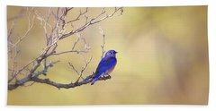 Western Bluebird On Bare Branch Bath Towel
