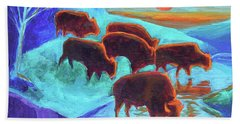 Western Buffalo Art Six Bison At Sunset Turquoise Painting Bertram Poole Hand Towel