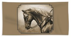 Western Horse Painting In Sepia Bath Towel