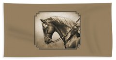 Western Horse Painting In Sepia Bath Towel by Crista Forest