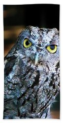 Hand Towel featuring the photograph Western Screech Owl by Anthony Jones