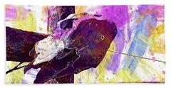 Bath Towel featuring the digital art Western Skull Farm Trophy Skeleton  by PixBreak Art