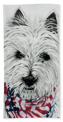 Westie Bath Towel by Terri Mills