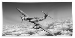 Hand Towel featuring the photograph Westland Whirlwind Portrait Black And White Version by Gary Eason