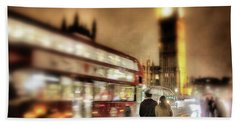 Westminster Bridge In Rain Bath Towel by Jim Albritton