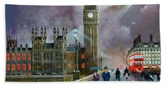 Hand Towel featuring the painting Westminster Bridge by Ken Wood