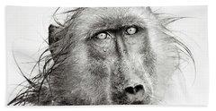 Wet Baboon Portrait Bath Towel