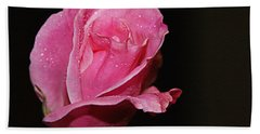 Bath Towel featuring the photograph Wet Pink Rose by Jennifer Muller