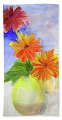 Bath Towel featuring the painting Wet Zinnias by Sandy McIntire