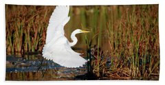 Wetland Landing Hand Towel by Ray Congrove