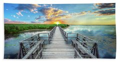 Hand Towel featuring the photograph Wetland Marsh Sunrise Treasure Coast Florida Boardwalk A1 by Ricardos Creations