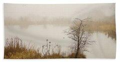 Bath Towel featuring the painting Wetland Wonders Of Winter by Jordan Blackstone