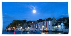 Weymouth Harbour, Full Moon Hand Towel by Anne Kotan