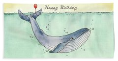 Whale Happy Birthday Card Hand Towel by Katrina Davis