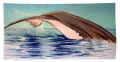 Hand Towel featuring the photograph Whale Tail    Pastel   Sold by Antonia Citrino