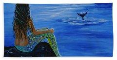 Whale Watcher Hand Towel by Leslie Allen