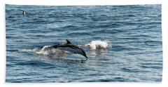 Bath Towel featuring the photograph Whale Watching And Dolphins 1 by Enrico Pelos