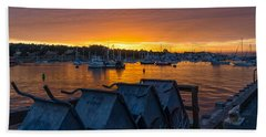 Wharf Sunset Hand Towel by Derek Dean