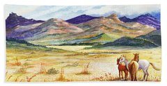 Hand Towel featuring the painting What Lies Beyond by Marilyn Smith