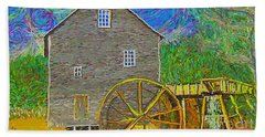 Bath Towel featuring the painting Water Wheel  by Hidden Mountain