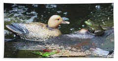 Hand Towel featuring the photograph What's Up Duck? by Trina Ansel