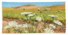 Wheat Field Wildflowers Bath Towel