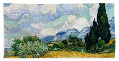 Wheat Field With Cypresses Bath Towel