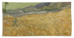 Wheatfield With Reaper Hand Towel