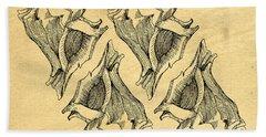 Hand Towel featuring the digital art Whelk Seashells Vintage by Edward Fielding
