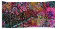 When Cherry Blossoms Fall Bath Towel by Donna Blackhall