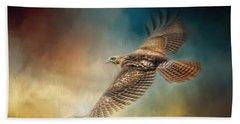 When The Redtail Flies At Sunset Hawk Art Bath Towel