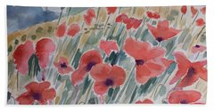 Where Poppies Grow Bath Towel by Barbara McMahon