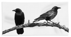 Which Way Two Black Crows On White Square Bath Towel