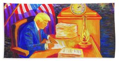 Hand Towel featuring the painting While America Sleeps - President Donald Trump Working At His Desk By Bertram Poole by Thomas Bertram POOLE